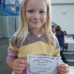 holding certificate for taking part in science challenge at winchester science centre