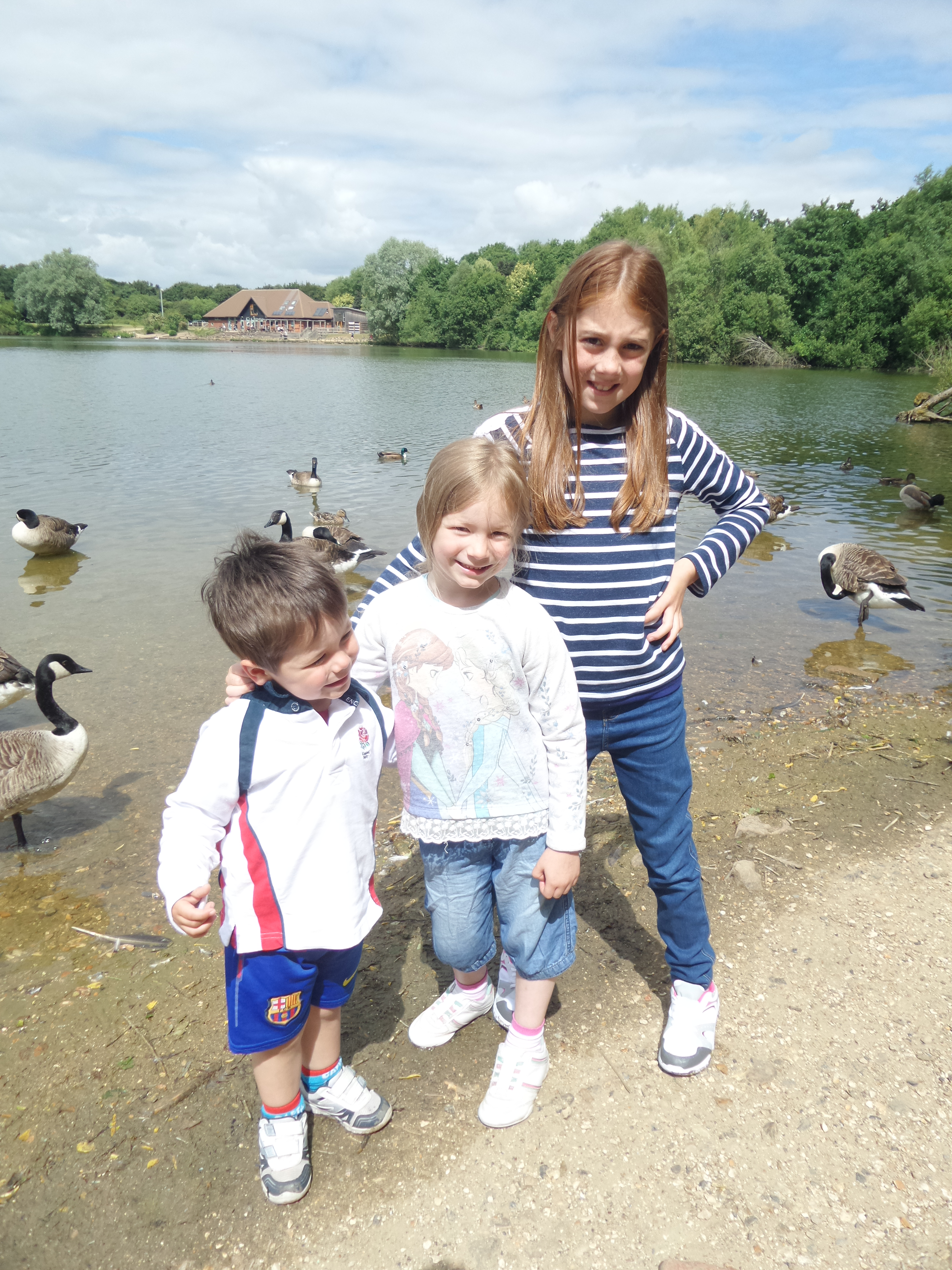 3 kids standing by the lake at the Nature Discovery Centre surrounded by geese