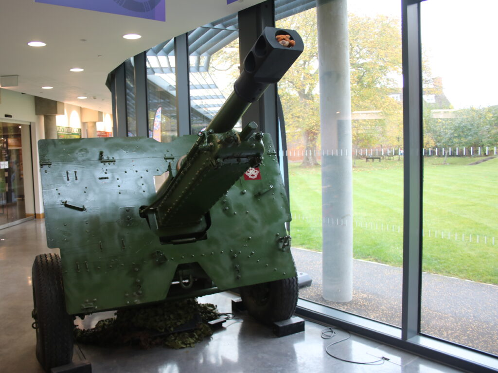 cannon in reception at the Soldiers Of Oxfordshire Museum