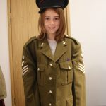 Lilian wearing an old army uniform