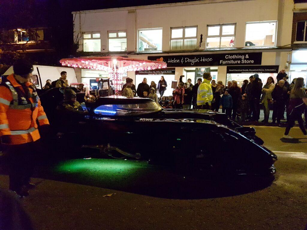 Batmobile in the christmas street fair