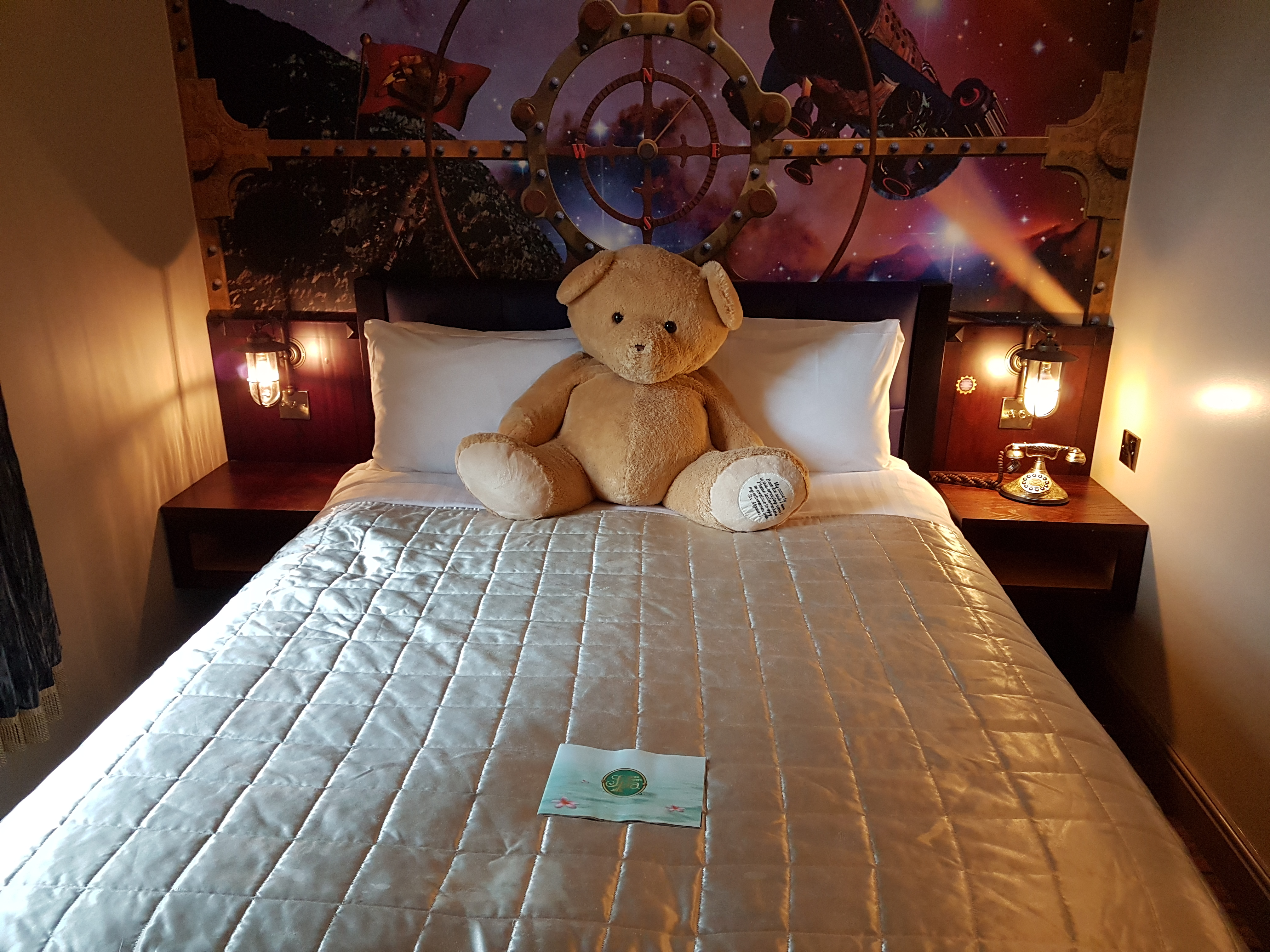 Beartrice the bear on our bed in the Alton Towers Hotel
