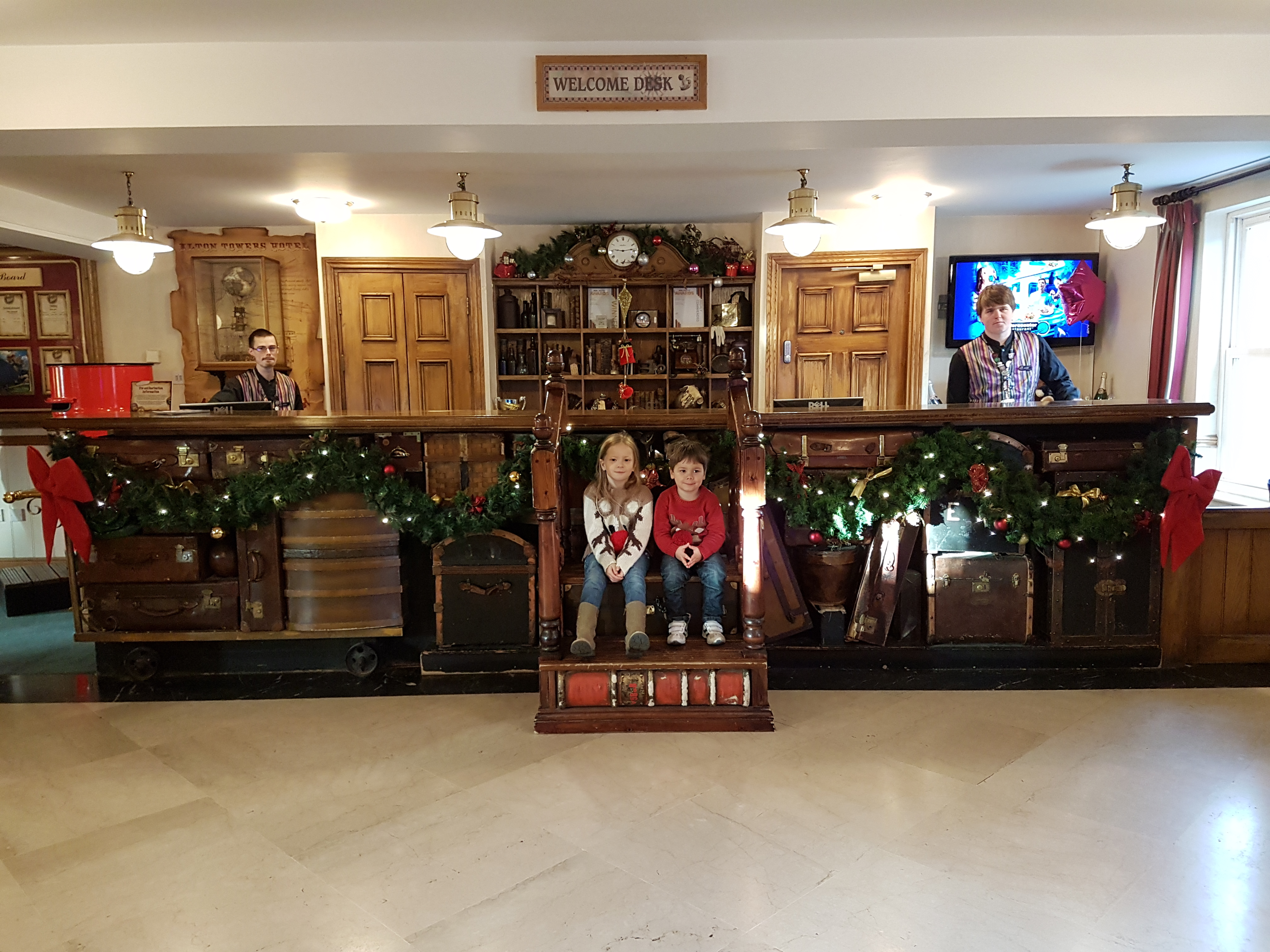 festive reception desk at the Alton Towers hotel