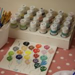 assortment of pottery paints to choose from