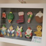 Christmas decoration ornaments painted in display case