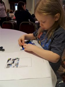 lois building her lego mosaic