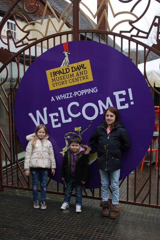 welcome sign to Roald Dahl Museum