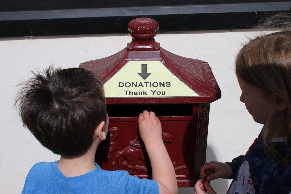 donations box at Island Farm Donkey sanctuary