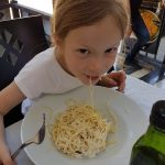 Lois eating carbonara in the Orient Express