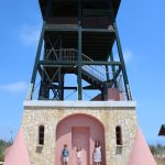 kids stood in front of the look out tower at the Delta de L'Ebre nature reserve