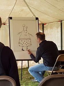 David Melling drawing an alien