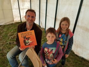 david melling author of Hugless Douglas signing books at Milton Manor readathon
