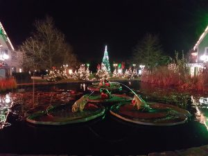 Alton towers theme park lit up at night with Christmas trees