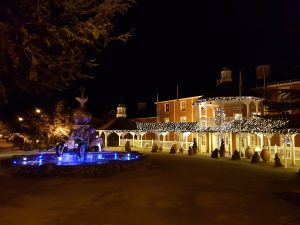 Alton Towers hotel and fountain lit up at night