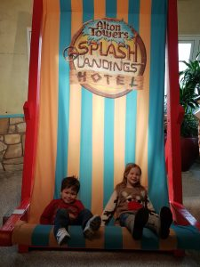 Giant deck chair at Alton Towers Splash Landings Hotel