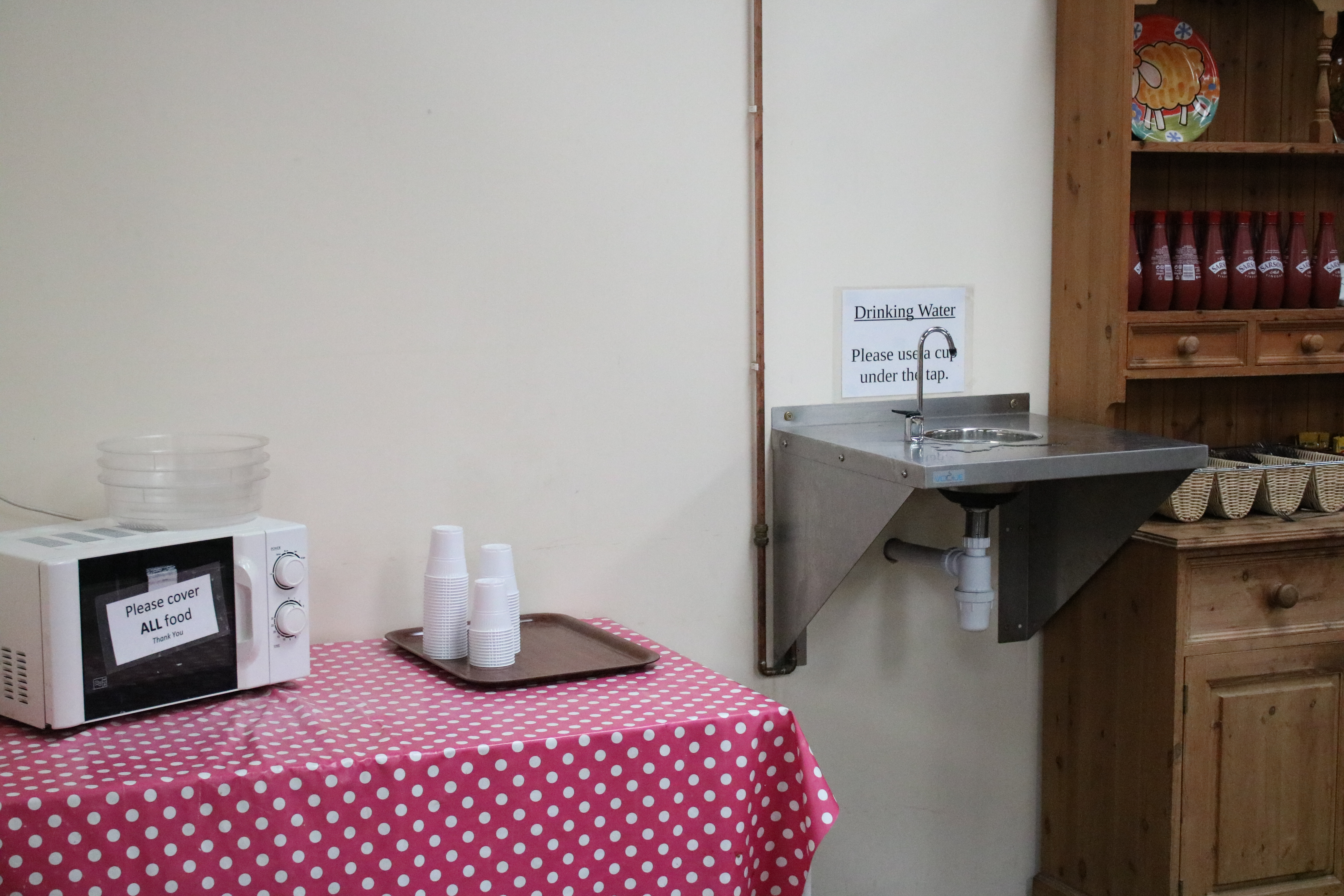 Drinking water tap and microwave for baby food at Roves Farm