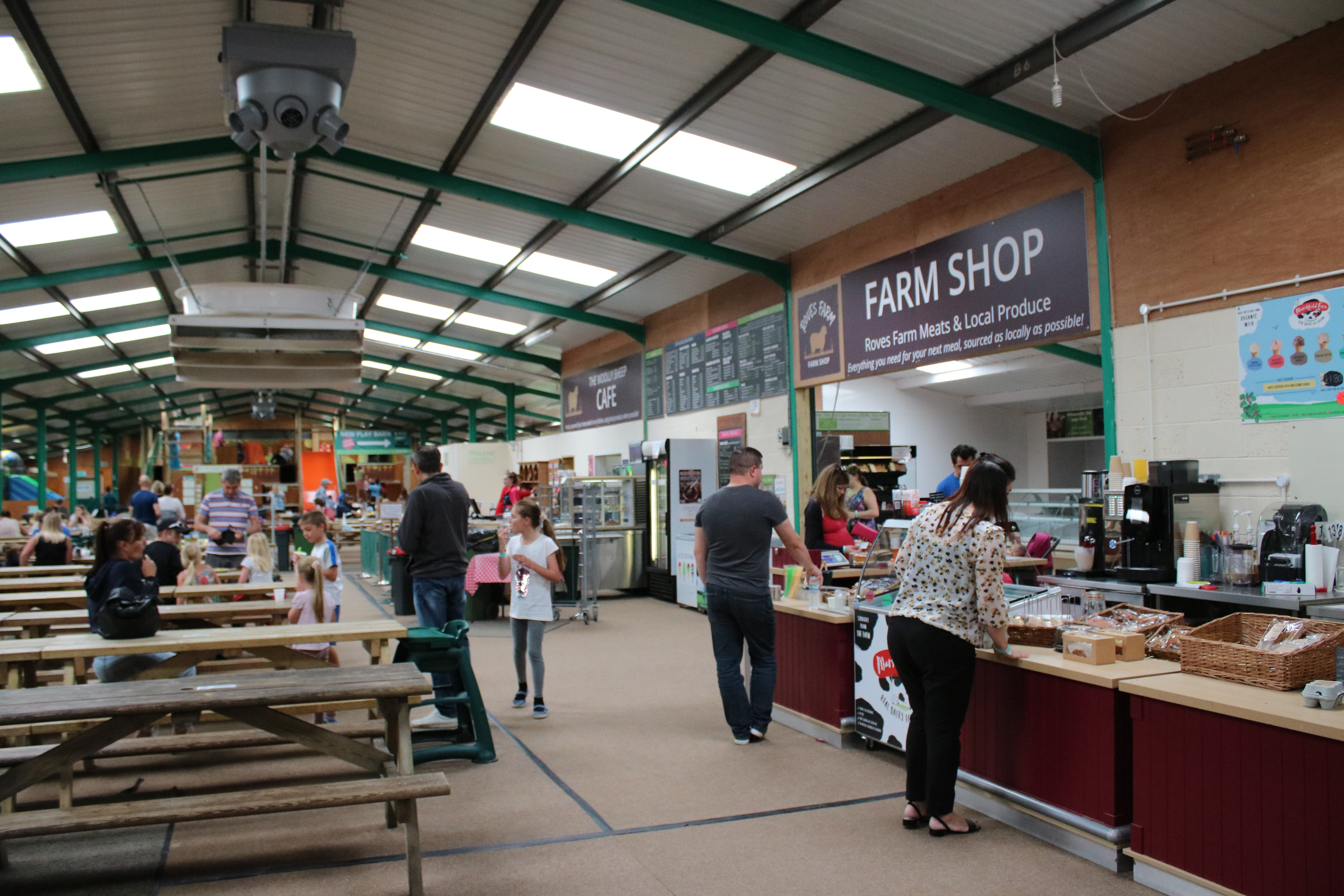 View of restaurant and shop in play barn at Roves Farm