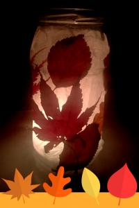 autumn leaf glass jar lantern