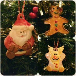 Hand painted porcelain Christmas ornaments