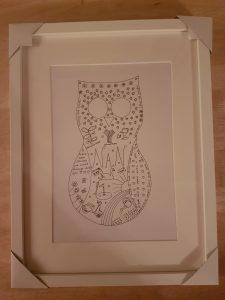 Nan owl personalised sketch in Ikea frame