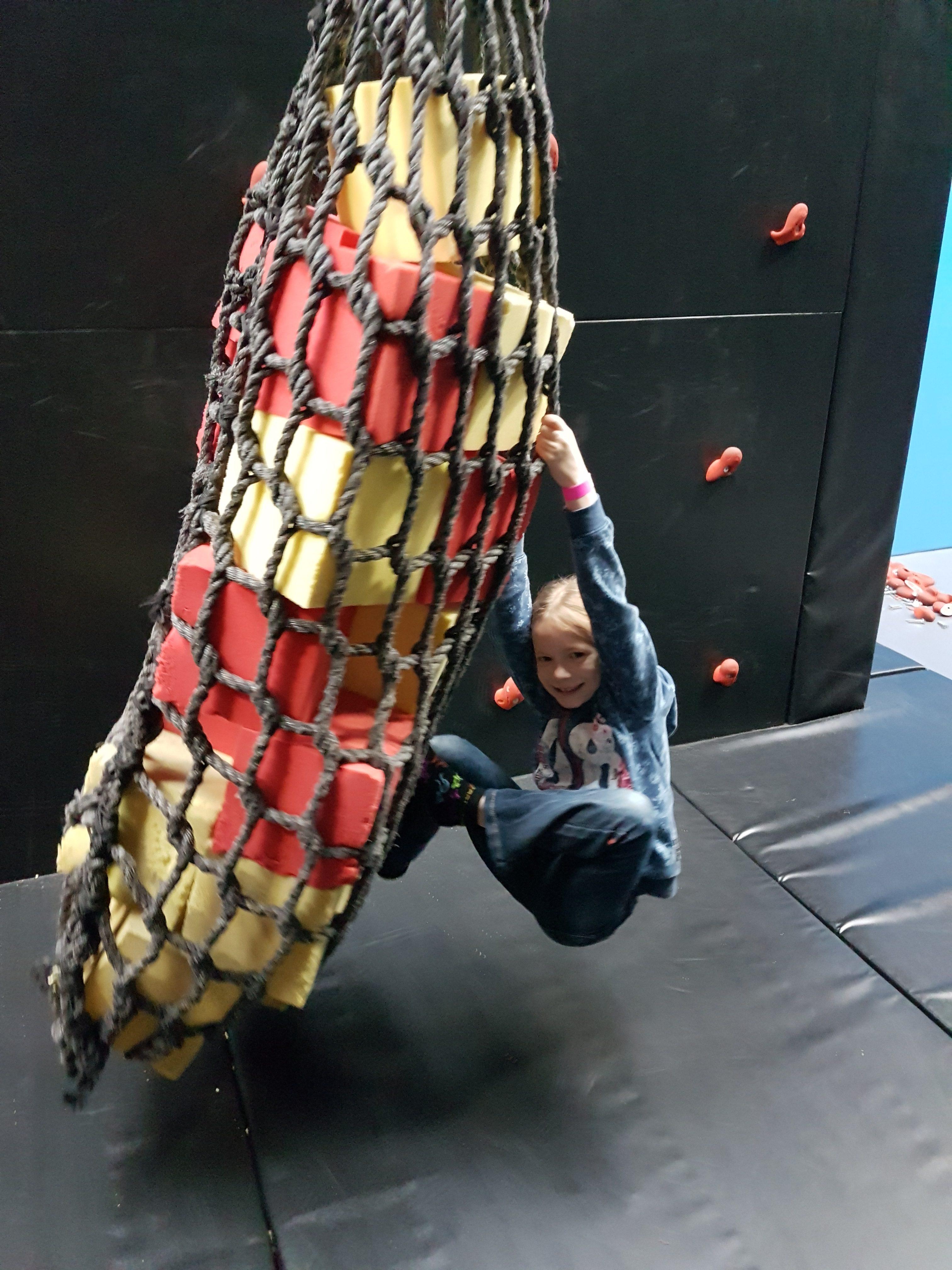 Ninja warrior course at Red Kangaroo trampoline park Reading