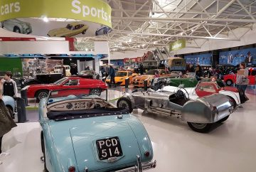 Sports cars exhibit area at British Motor Museum