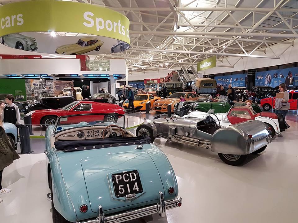 Sports cars exhibit area at British Motor Museum