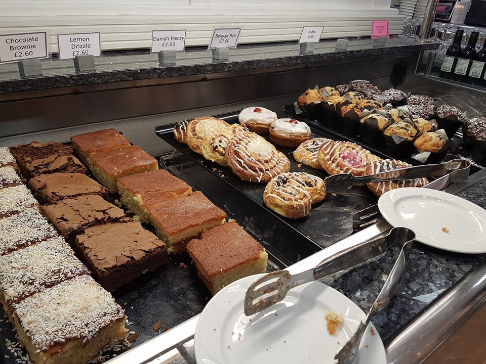 Cake selection at the British Motor museum restaurant