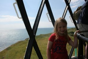 Lois at the top of St Catherines lighthouse