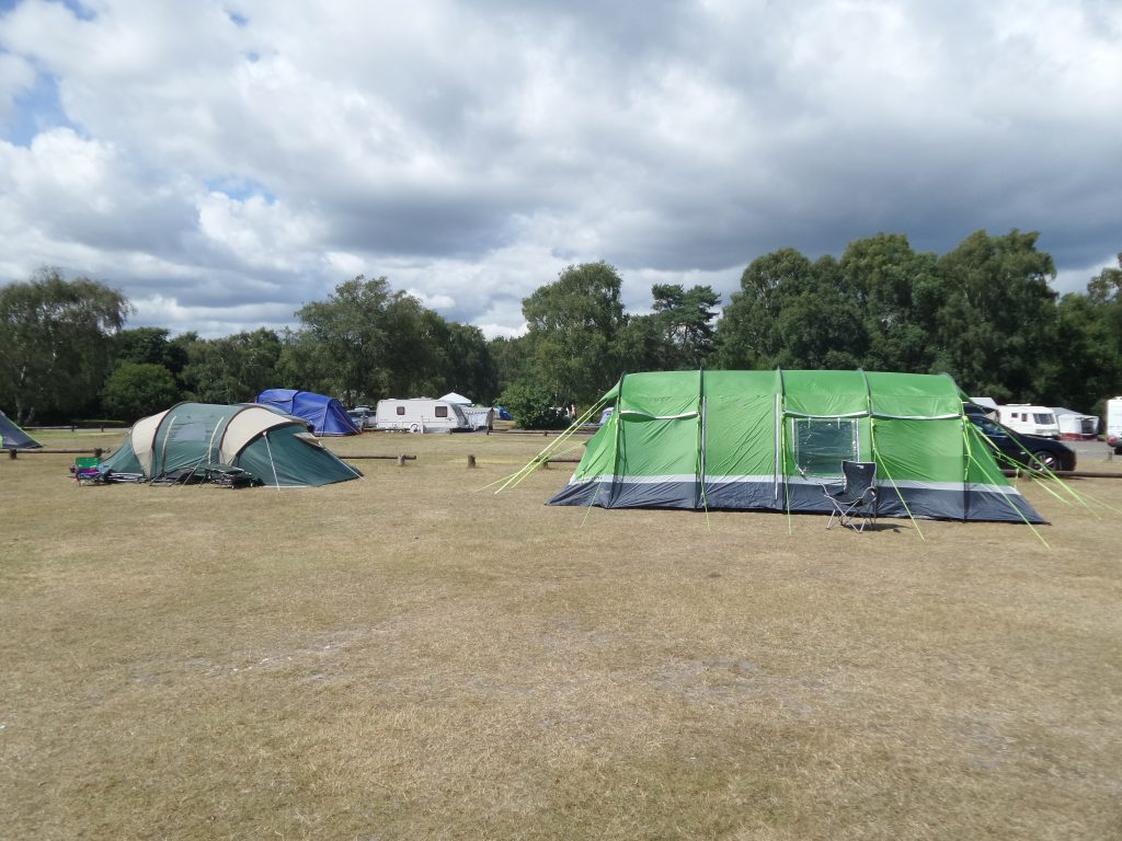 tents pitched at Holmsley