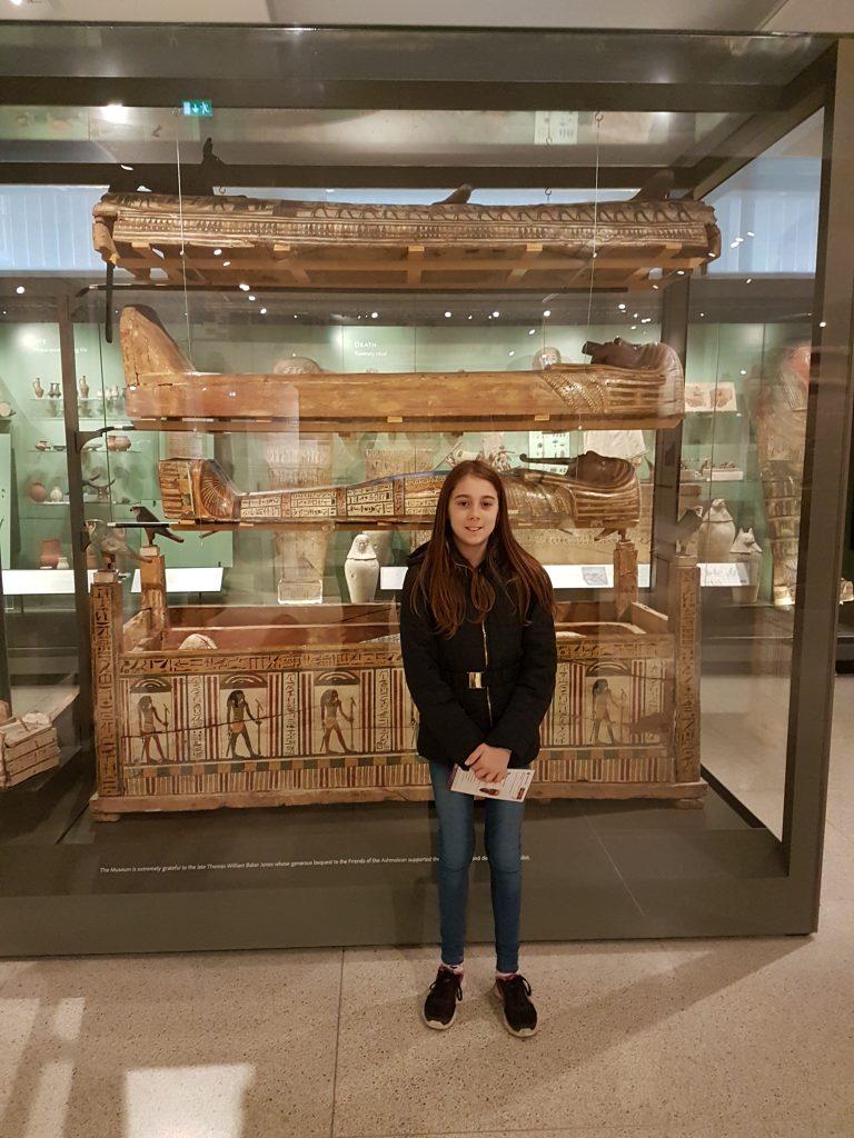 lilian next to egyptian mummy