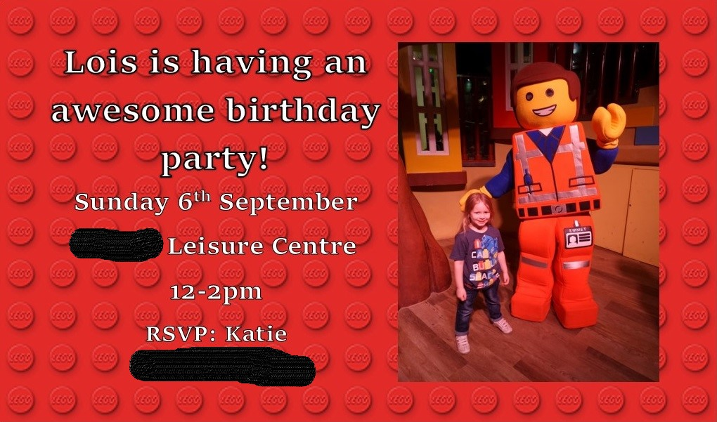 LEGO themed birthday party invite