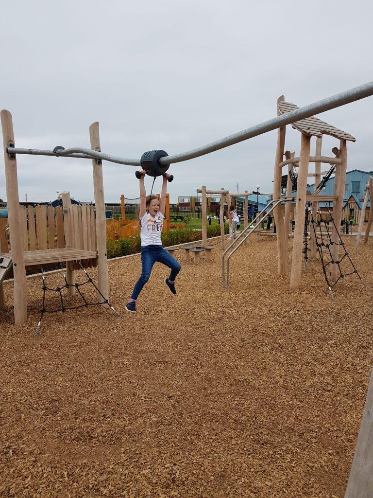 lois on the play park at Hoburne Naish