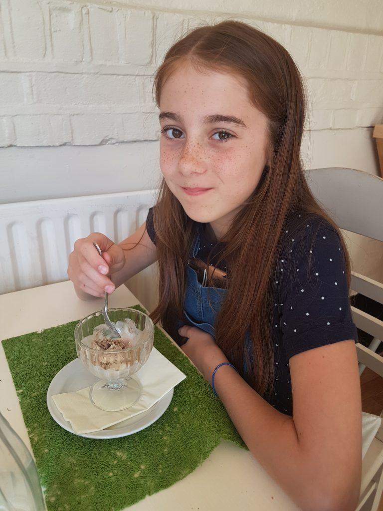 Lilian eating her ice cream