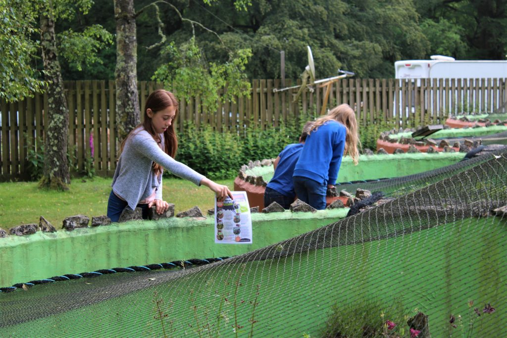 kids looking in the reptile habitats at new forest reptile centre