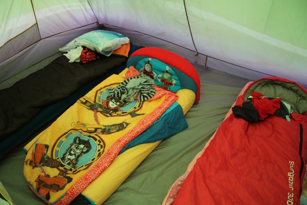 kids camping beds and sleeping bags