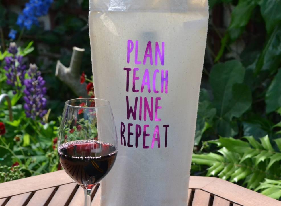 teacher gift wine bottle bag