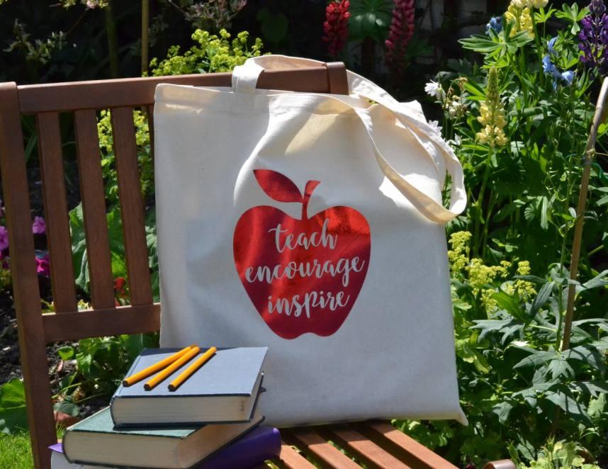 apple tote bag teacher gift