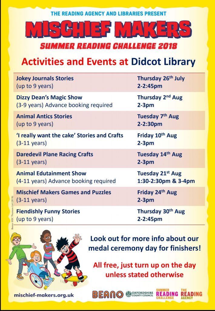 didcot library summer reading challenge events