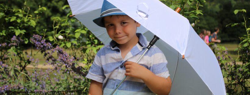 Cody with umbrella