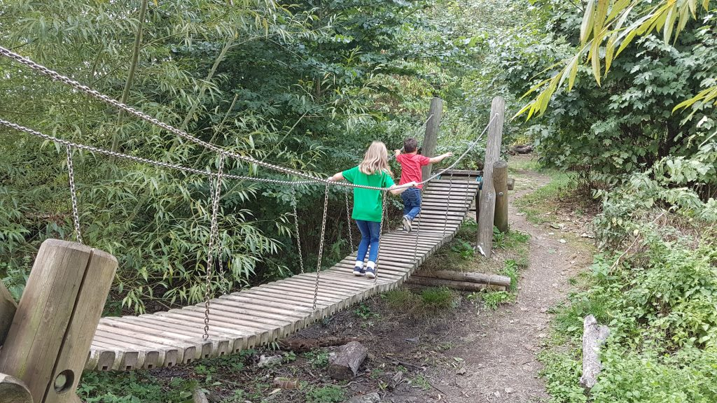 crossing the rope bridge at cogges