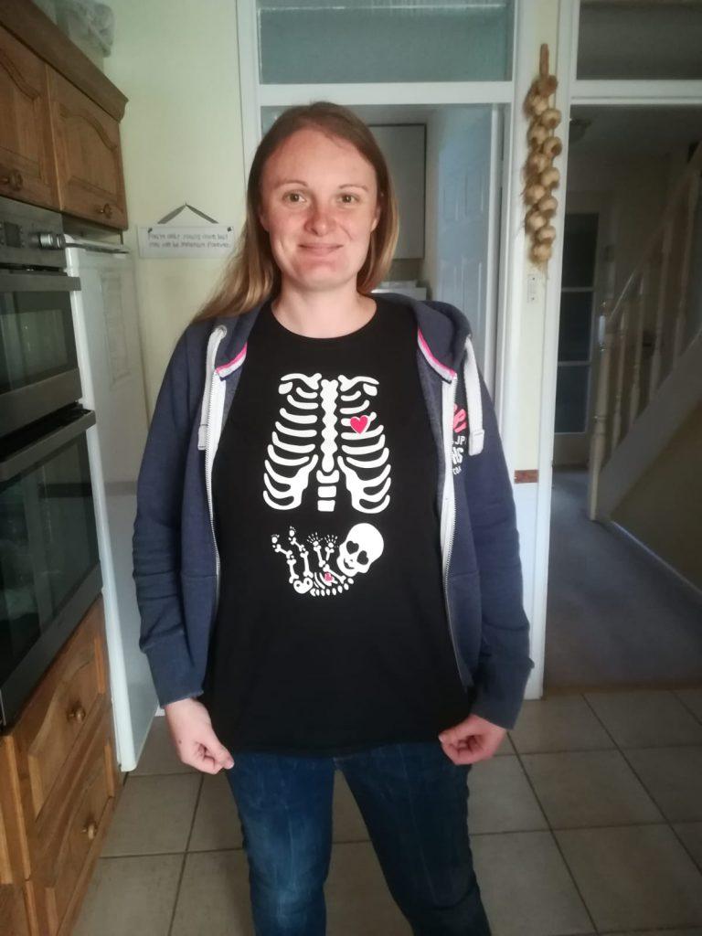 Halloween skeleton pregnant mum top