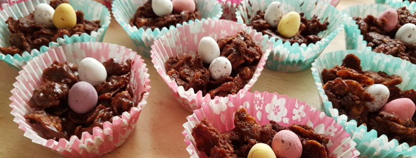Chocolate crispy nest cakes