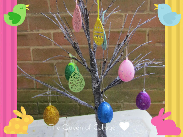 Glitter eggs Easter tree craft project