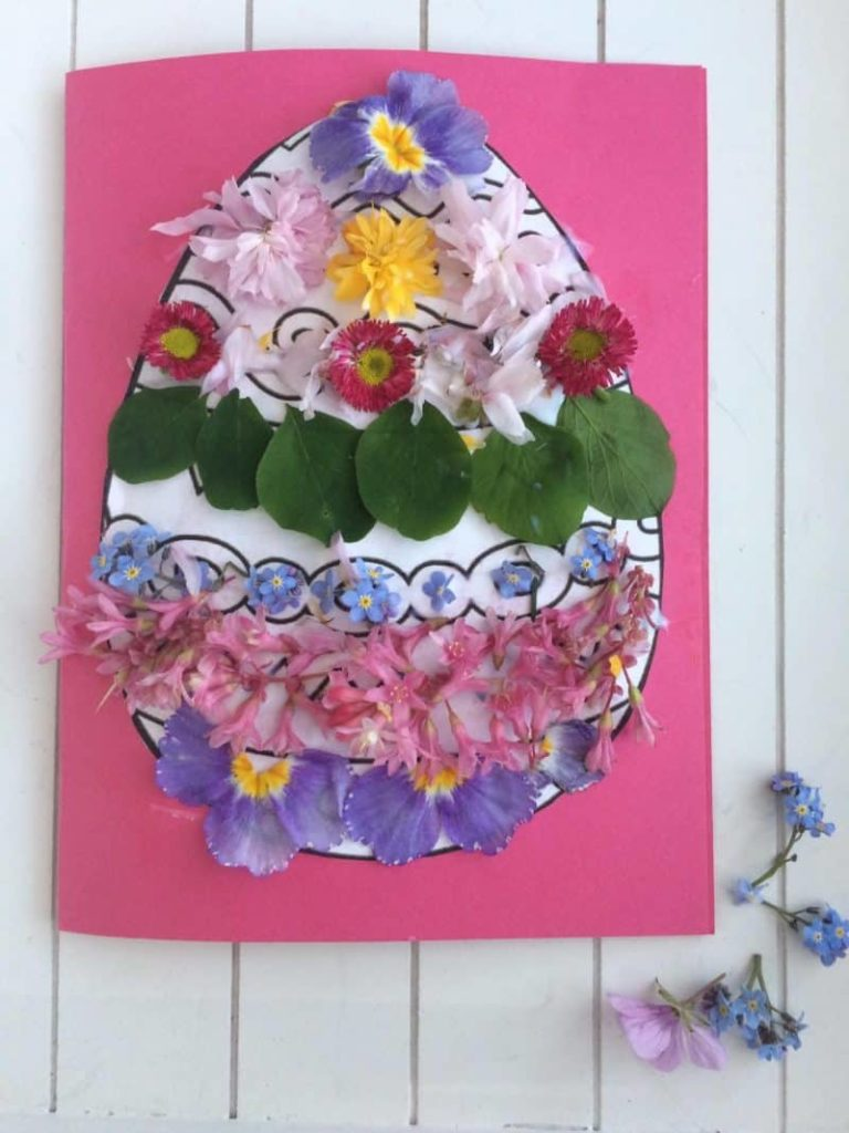 Easter card made using natural decorations such as petals and leaves