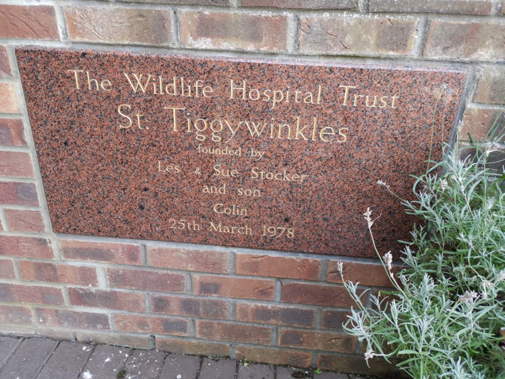 Tiggywinkles Wildlife Hospital plaque with opening date on front wall