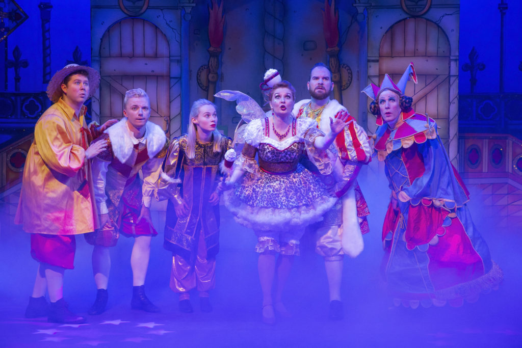 Cast on stage during Sleeping Beauty at Corn Exchange Newbury