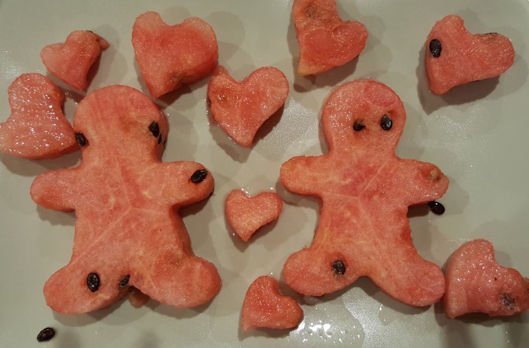 Watermelon people and hearts using cutters