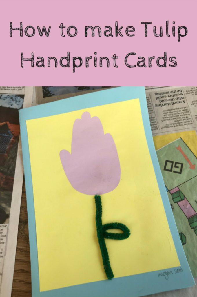 tulip handprint Mother's Day card