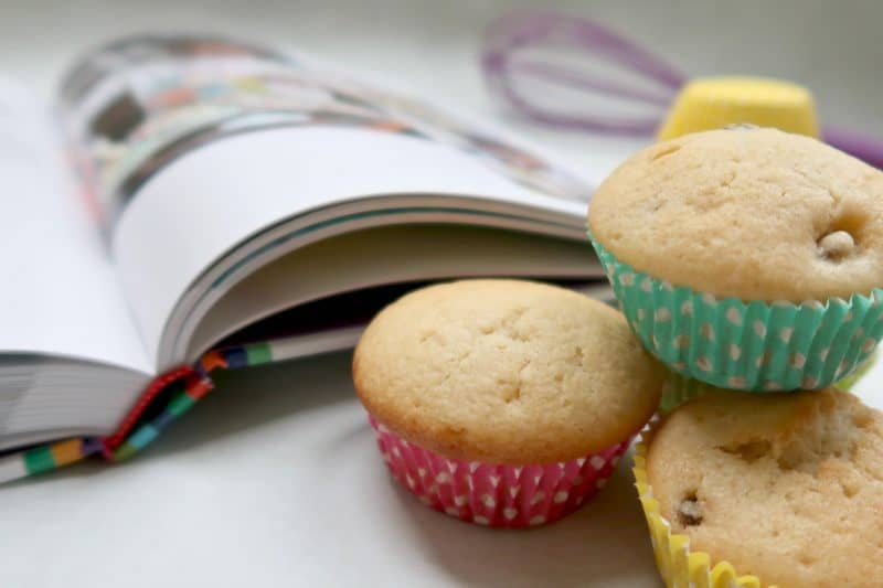 Cakes next to recipe book